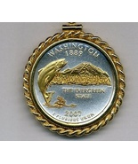 State of Washington, 2-Toned, Gold on Silver, U.S Quarter Pendant Necklace - $132.00