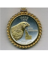 State of Idaho, 2-Toned, Gold on Silver, U.S.Quarter Pendant Necklace - $132.00