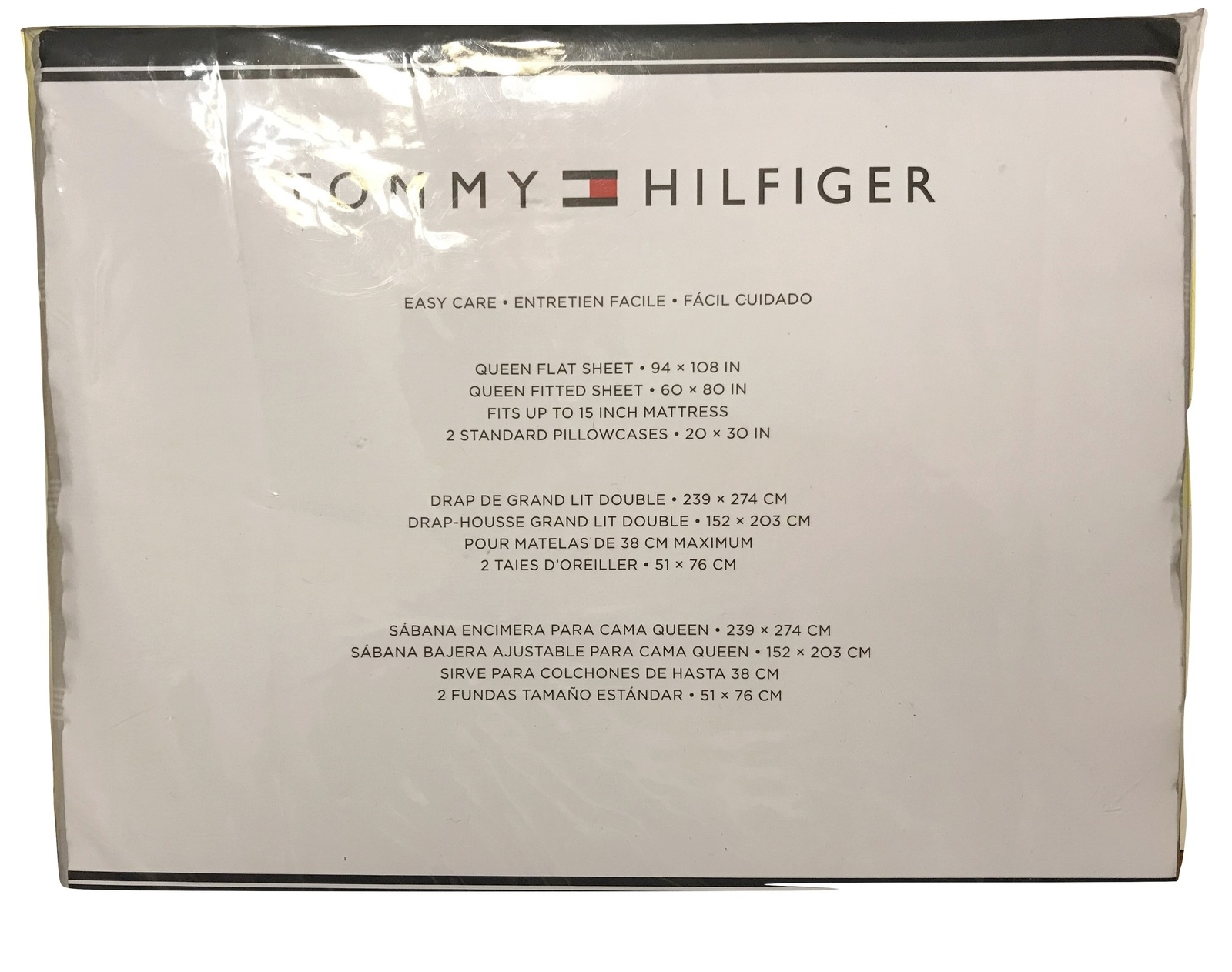 Tommy Hilfiger Gray White Striped Sheet Set, Queen, 4 Pcs