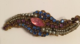 Vintage signed Miriam Haskell pin pink blue purple pearl stones - $106.00