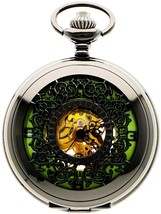 New Brand Mens Black Vintage Luminous Mechanical Pocket Watch + Chain - $67.81
