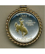 State of Wyoming, 2-Toned, Gold on Silver, U.S. Quarter Pendant Necklace - $132.00