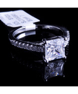 New 14K White Gold Fn Lab Diamond Princess Cut Solitaire Enagement Ring ... - $39.99