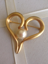 Vintage Gold Tone Large Heart Faux Pearl Fashion Brooch - $25.00