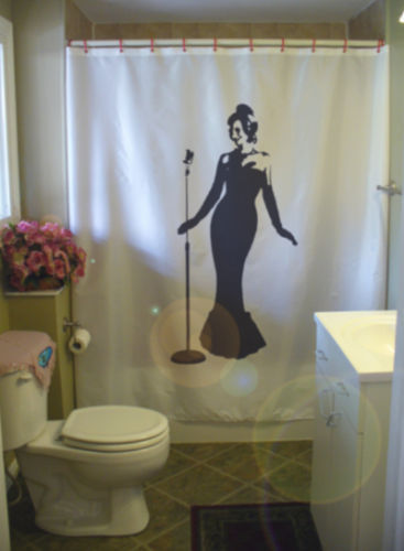 Primary image for Shower Curtain classic jazz lady beauty microphone glam