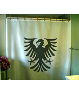 Printed Shower Curtain eagle heraldry spread wings Medieval flag coat of... - $90.00
