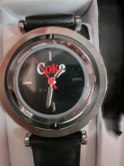 Coca-Cola Accutime Spinner Watch 22 MM Black Vinyl Band - BRAND NEW image 2