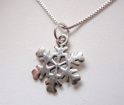 Very Small Snowflake Necklace 925 Sterling Silver Corona Sun Jewelry - $15.83