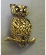 OWL bird on branch goldtone Brooch Pin - $15.99