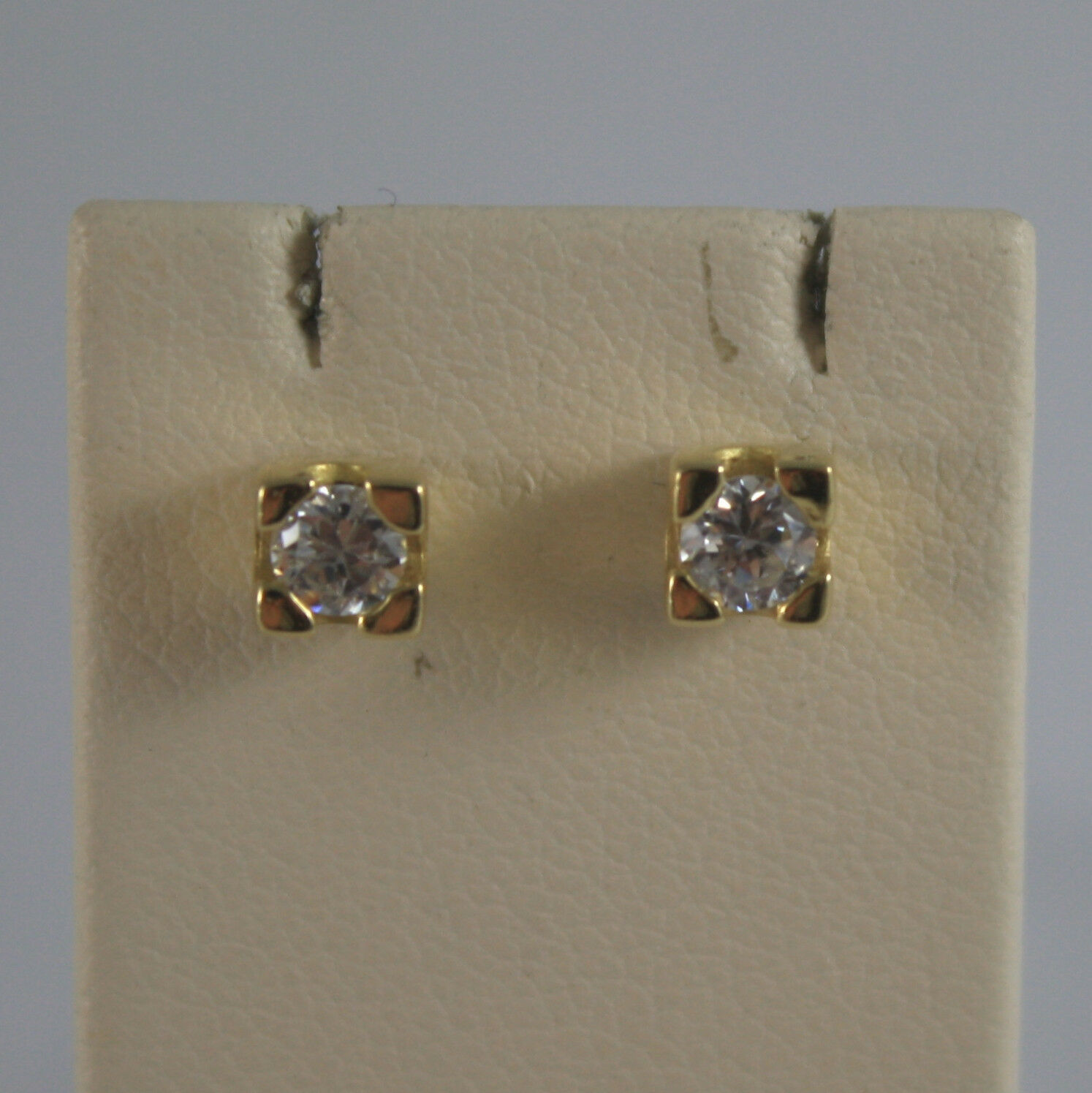 SOLID 18K YELLOW GOLD EARRINGS, ZIRCONIA, WIDTH 0.16 INCHES, MADE IN ITALY