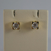 SOLID 18K YELLOW GOLD EARRINGS, ZIRCONIA, WIDTH 0.16 INCHES, MADE IN ITALY image 1