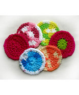 Hand Crocheted Mini-Facial Wash Cloths Scrubbies x6 - $8.00