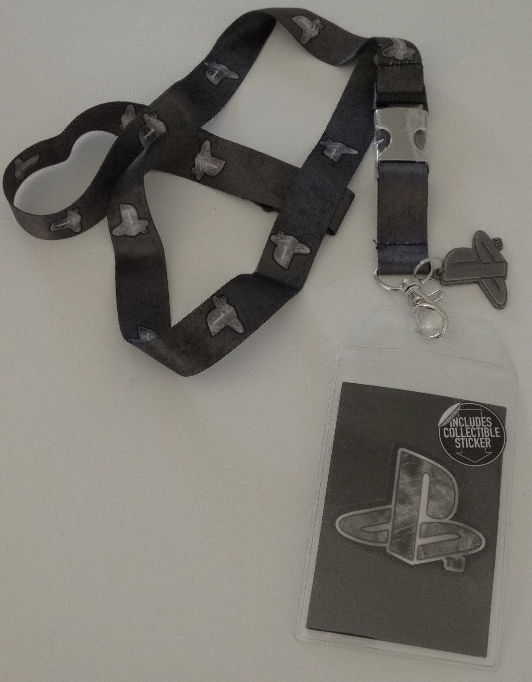 PlayStation Video Game Metal Logo ID Badge Holder Keychain Lanyard