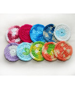 Hand Crocheted TROPICAL FRUIT Mini-Facial Wash Cloths Scrubbies x10 - $12.00