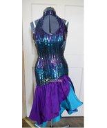 Vintage 80s dress rumba dance sequin purple tea... - $130.00