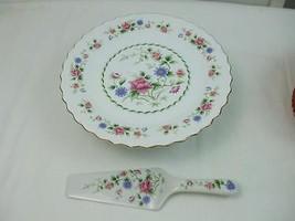 """White Porcelain Red Pink Floral 10"""" Pedestal Cake Serving Set Andrea by ... - $22.46"""