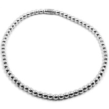 18K WHITE GOLD BRACELET, SEMIRIGID, ELASTIC, 3 MM SMOOTH BALLS SPHERES - $782.00