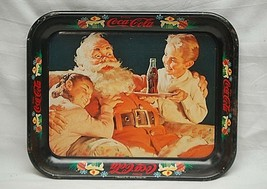 Old Vintage Rustic 1981 Coca Cola Coke Litho Tin Metal Serving Tray Sant... - $24.74
