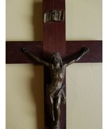 Wooden Bronze Brass Crucifix France Made Cross Jesus Wall Hanging Christ... - $43.54