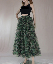 Army Pattern Layered Tulle Skirt Outfit Lady High Waist Tiered Maxi Tulle Skirt  image 2
