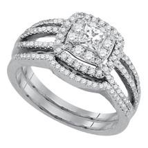 14K White Gold Princess Diamond Bridal Wedding Engagement Ring Band Set 7/8 Ctw - $1,598.00