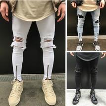 New! Man 2018 New Street Fashion Hiphop Men's Knee Hole Stretch Denim Jeans Pant - $29.58