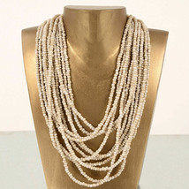 "Cream Beaded Necklace Pink House New Graduated Beads Wood Toggle 26"" Fas... - $14.95"