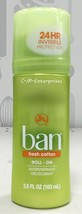 Ban Roll On Antiperspirant Deodorant Fresh Cotton Scent 3.5 oz - $7.87