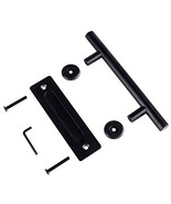 "12"" Large Barn Door Handle Pull and Flush Set - Black Stainless Steel Sl... - $21.75"