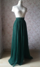 Dark Green Split Maxi Skirt Dark Green Bridesmaid Tutu Skirt with Split (US0-30) image 2