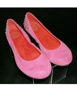 Jessica Simpson 'Abigail' pink suede round toe studded slip on ballet fl... - $33.30
