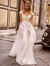 New Style Lace Beach Bridal Gowns V-neck Cap Sleeve Open Back Beautiful Wedding  image 2
