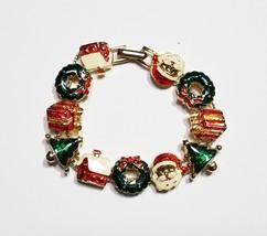 Avon Gold Tone Christmas Slide Charm Bracelet - $16.99