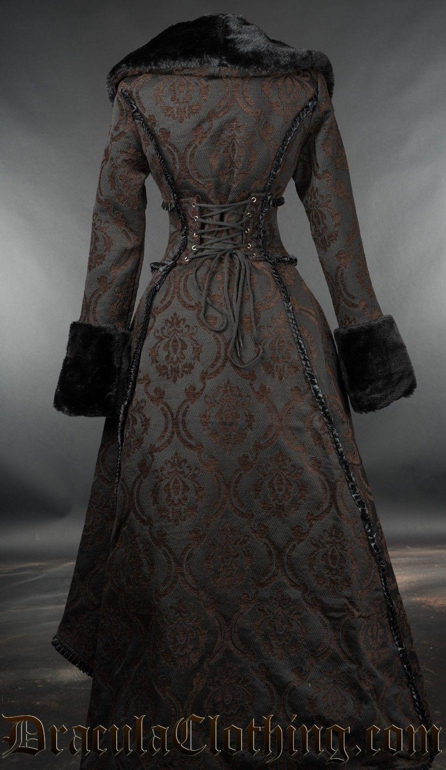 Brown Evil Queen Brocade Goth Victorian Long Winter Corset-Back Steampunk Coat