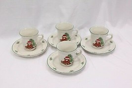 Meiwa Xmas Tree Bears Cups and Saucers Lot of 16 - $46.05