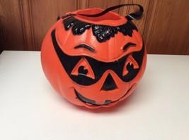 "Vintage Plastic Orange Jack O Lantern Trick or Treat Pumpkin 10"" tall x 10"" - $9.99"