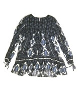 Free People V Neck Printed BOHO CHIC Tunic Top in Blue, Black & White Ra... - $32.67