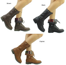 New Qupid Seattle-01X Tribal Cuff Military Lace up Boots Size 5.5-10 - $19.99