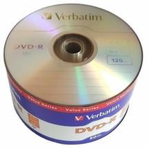 50 Pack Verbatim Blank DVD-R DVDR Logo Branded 16X 4.7GB 120min Recordable Disc - $14.49