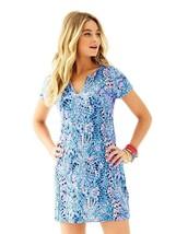 Lilly Pulitzer Duval Cap Sleeved T-Shirt Dress Blue Multi Tic Tac Tile X... - $63.86