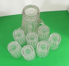 Imperial Vintage Glass DAISY AND BUTTON Water Pitcher Set with 7 Tumbler (s) image 2