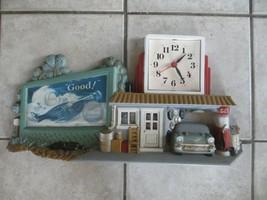 VTG PLASTIC WORKING BATTERY COCA COLA CLOCK SIGN CAR GARAGE SCENE - $31.50
