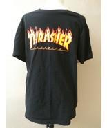 Thrasher Skateboarding Magazine Flames Black T Shirt Sz M  - $38.12