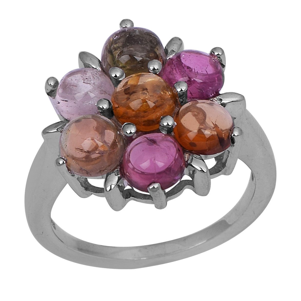7 Multi Tourmaline Stone Claw Set 925 Sterling Silver Jewelry Ring Sz 7 SHRI0753