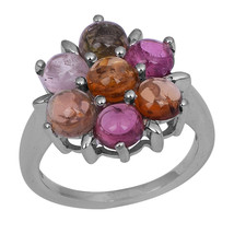 7 Multi Tourmaline Stone Claw Set 925 Sterling Silver Jewelry Ring Sz 7 ... - $25.25