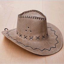 KLV 1Piece Mens Fashion Cowboy Hat Suede Look Wild West Fancy Dress Black Newest image 6