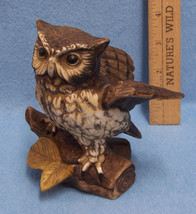 Vintage HOMCO Great Horned Owl on Log Figurine - $10.84