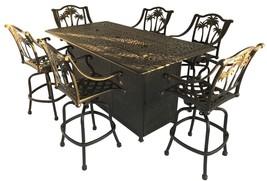Fire pit propane bar table set 7 piece outdoor cast aluminum Palm Tree bar stool image 1