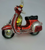 "Vintage Hand Blown Glass SANTA'S NEW RIDE Ornament 6""long - $25.98"