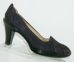 Sofft purple suede round toe tapered art deco black piping pump heels 8M  - $33.30